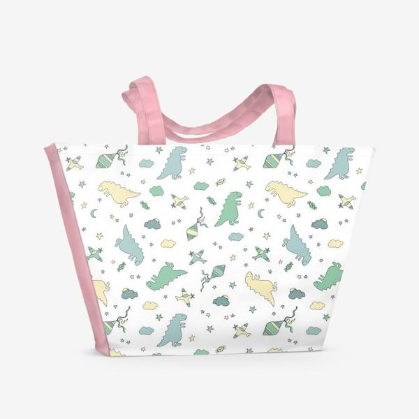 Пляжная сумка «Милые динозавры бесшовный узор. Детский принт»