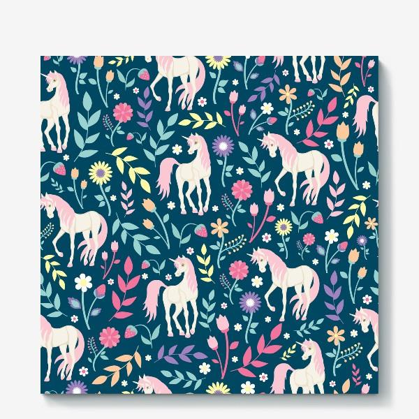 Холст «Fairy unicorns and flowers »
