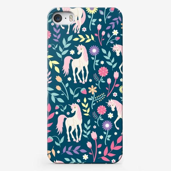 Чехол iPhone «Fairy unicorns and flowers »