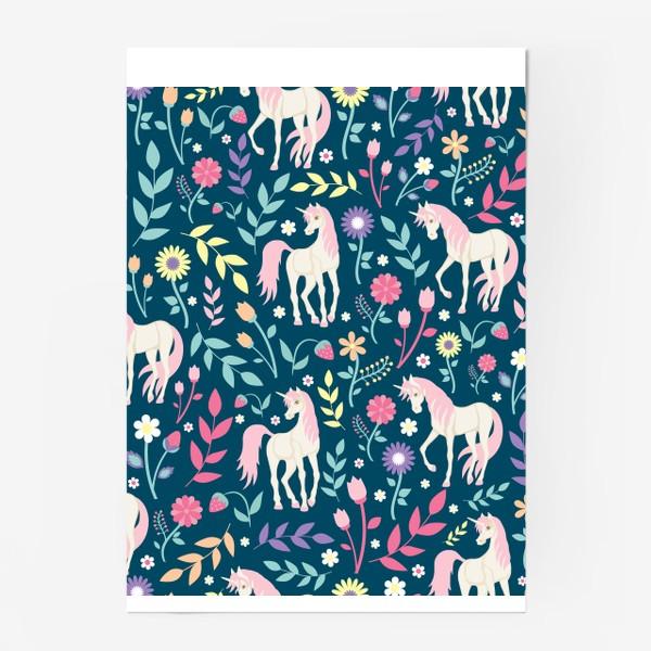 Постер «Fairy unicorns and flowers »