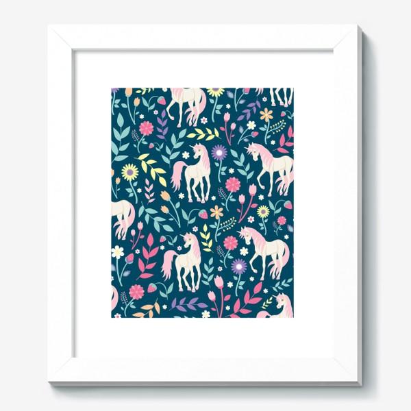 Картина «Fairy unicorns and flowers »