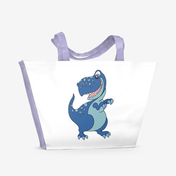 Пляжная сумка «Забавный динозавр.»