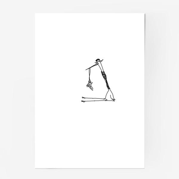 Постер «Птица с коньками. Ждет зимы»
