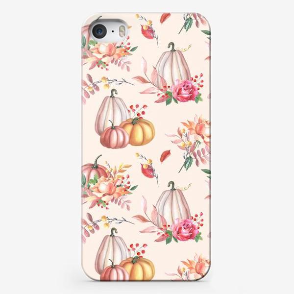 Чехол iPhone «Осенние тыквы и розы»