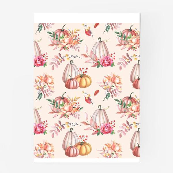 Постер «Осенние тыквы и розы»