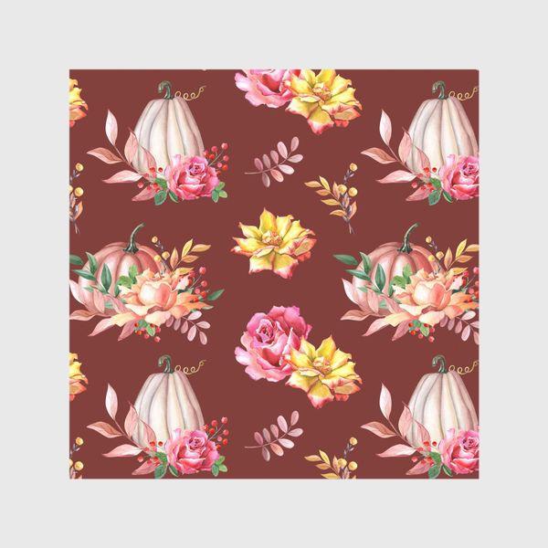 Шторы «Тыквы,розы и листья.Коричневый»