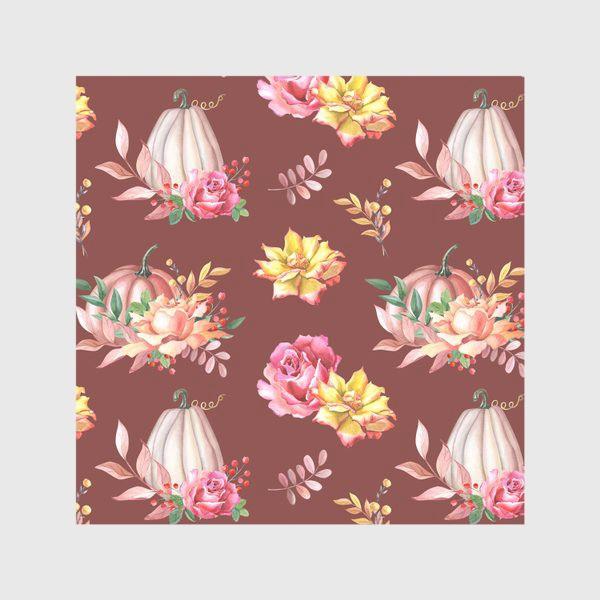 Скатерть «Тыквы,розы и листья.Коричневый»