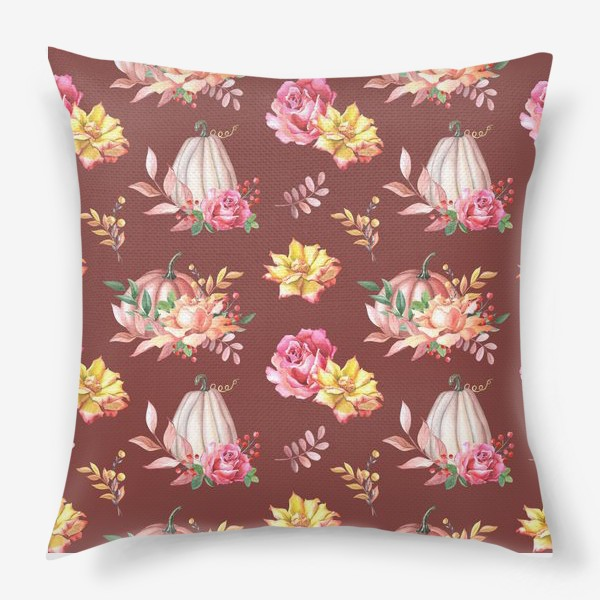 Подушка «Тыквы,розы и листья.Коричневый»