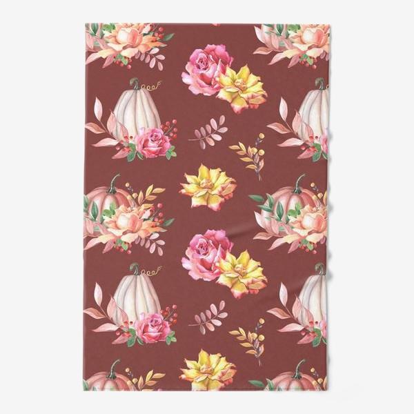 Полотенце «Тыквы,розы и листья.Коричневый»