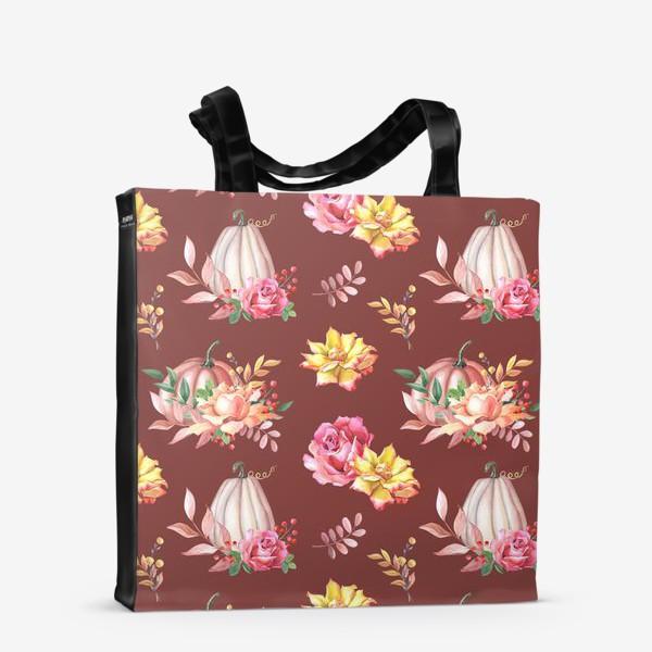 Сумка-шоппер «Тыквы,розы и листья.Коричневый»