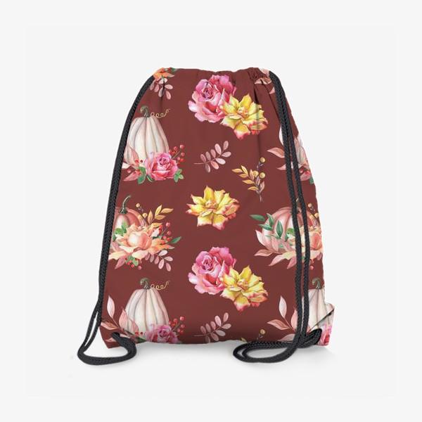 Рюкзак «Тыквы,розы и листья.Коричневый»