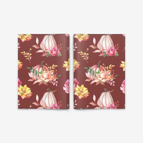 Обложка для паспорта «Тыквы,розы и листья.Коричневый»