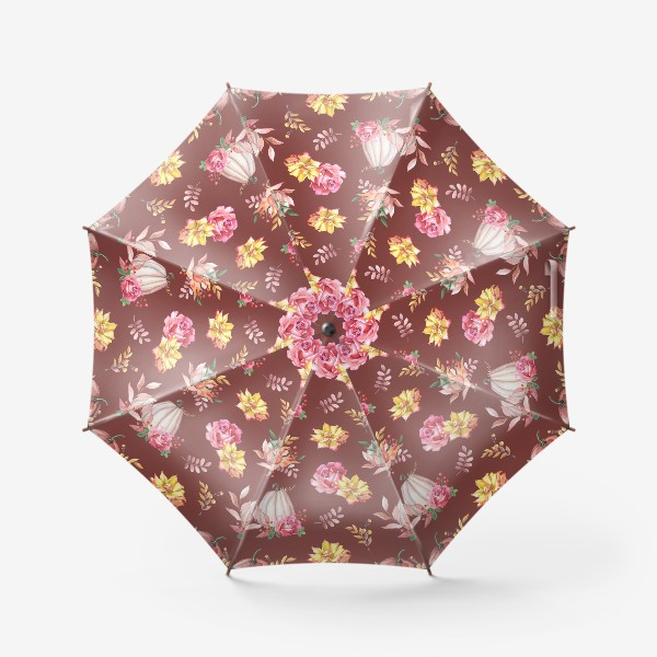 Зонт «Тыквы,розы и листья.Коричневый»