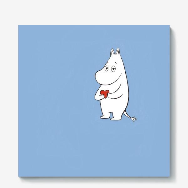 Холст «Муми-тролль любовь сердце 8 марта»
