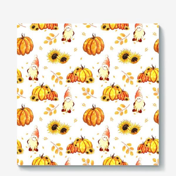 Холст «Осенние гномы с тыквами»