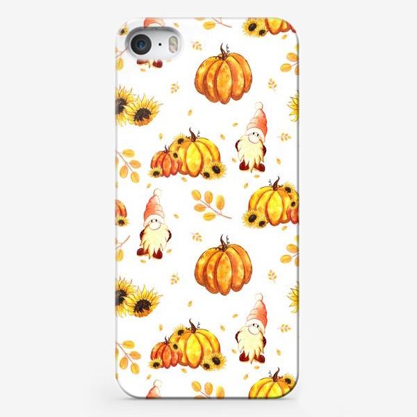Чехол iPhone «Осенние гномы с тыквами»