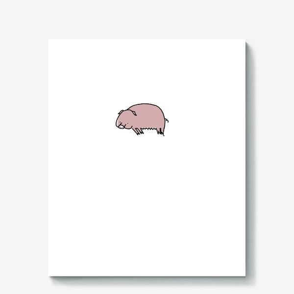 Холст «Свинка лежит на боку»