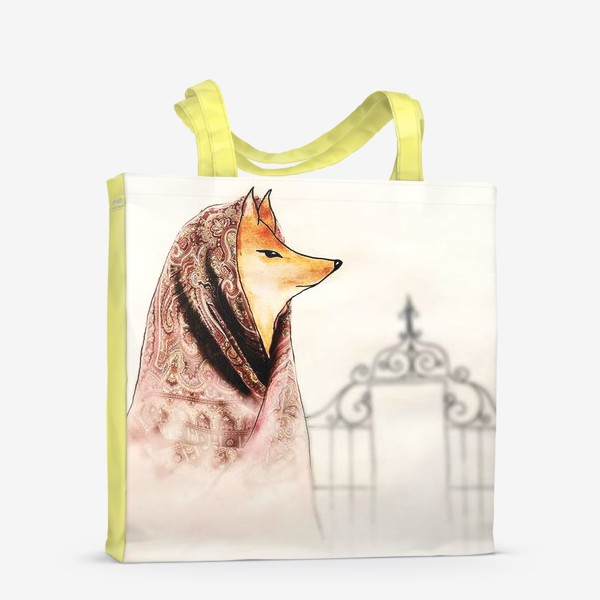 Сумка-шоппер «Лиса в павлопосадском платке»