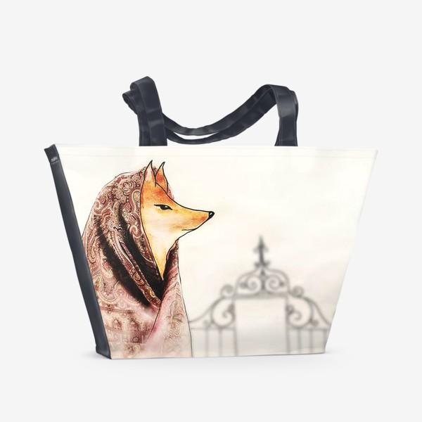 Пляжная сумка «Лиса в павлопосадском платке»