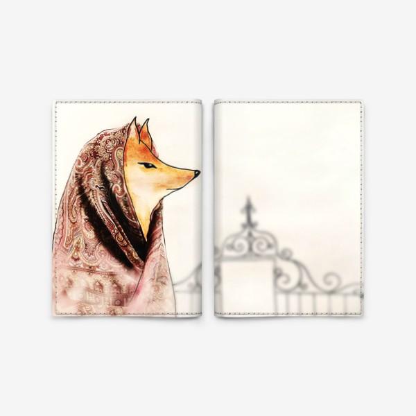 Обложка для паспорта «Лиса в павлопосадском платке»