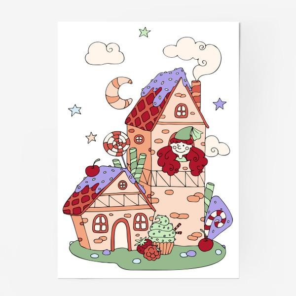 Постер «Забавная принцесса в башне, принт для девочек»
