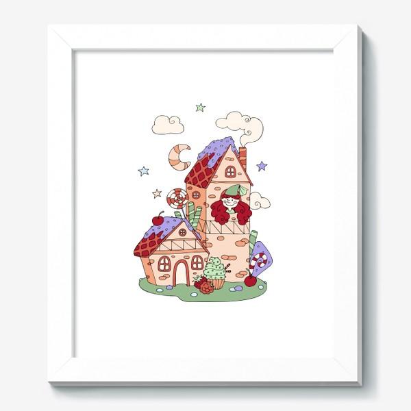 Картина «Забавная принцесса в башне, принт для девочек»
