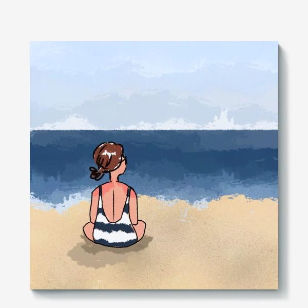 Холст «На море отдых бархатный сезон девушка на песке пляж»