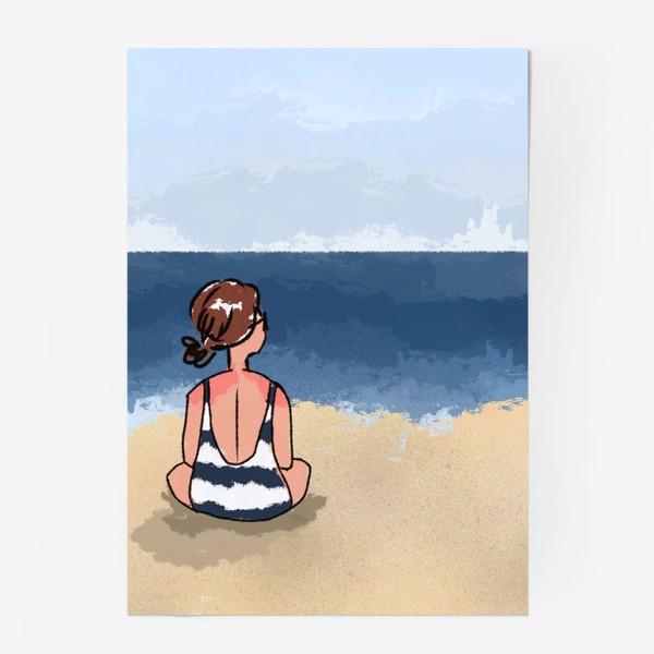 Постер «На море отдых бархатный сезон девушка на песке пляж»