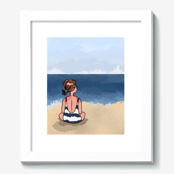 Картина «На море отдых бархатный сезон девушка на песке пляж»