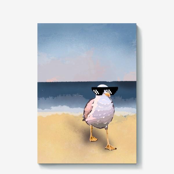 Холст «Чайка море песок лето пляж бархатный сезон»