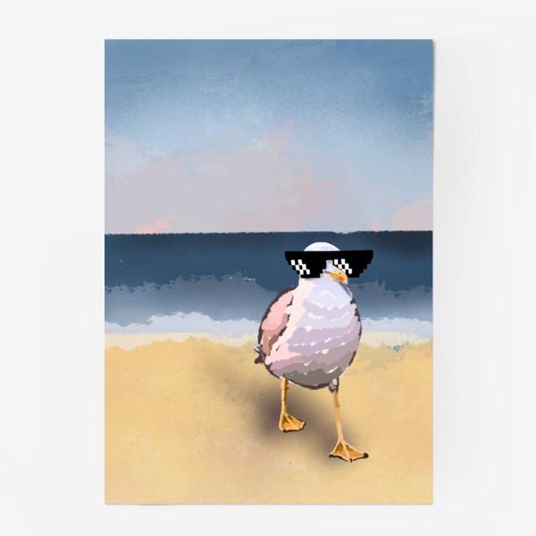Постер «Чайка море песок лето пляж бархатный сезон»