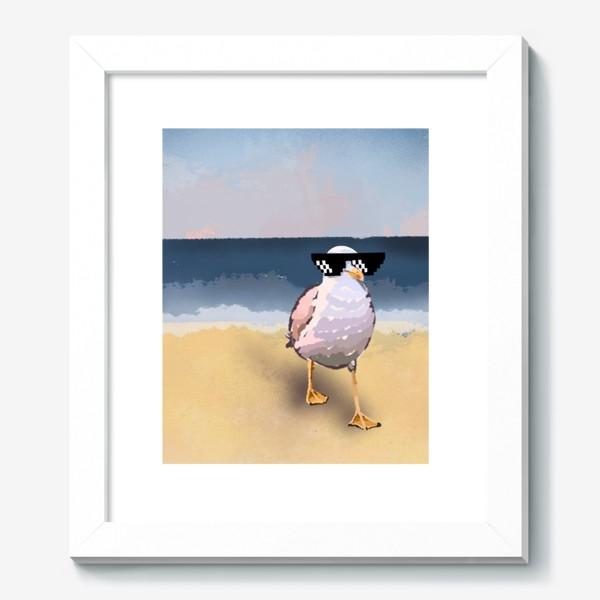 Картина «Чайка море песок лето пляж бархатный сезон»