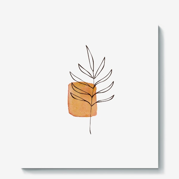 Холст «Абстракция. Оранжевая акварель, ветвь»