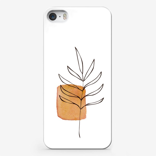 Чехол iPhone «Абстракция. Оранжевая акварель, ветвь»
