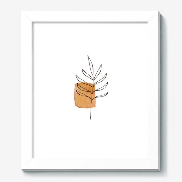 Картина «Абстракция. Оранжевая акварель, ветвь»