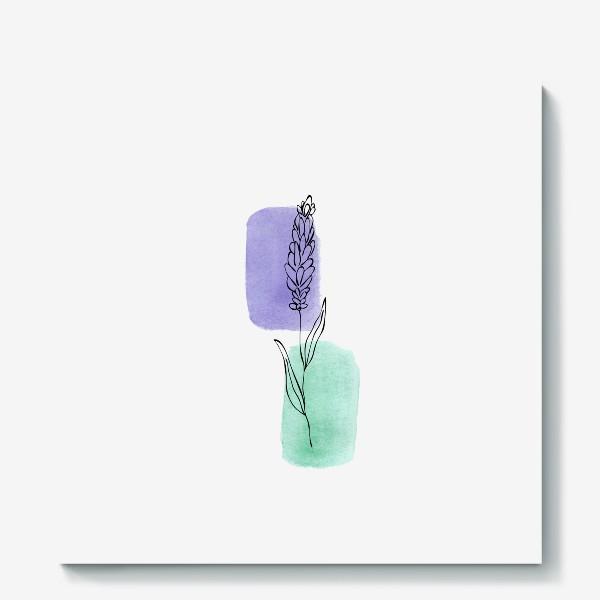 Холст «Абстракция. Сиреневая и бирюзовая акварель, лаванда»