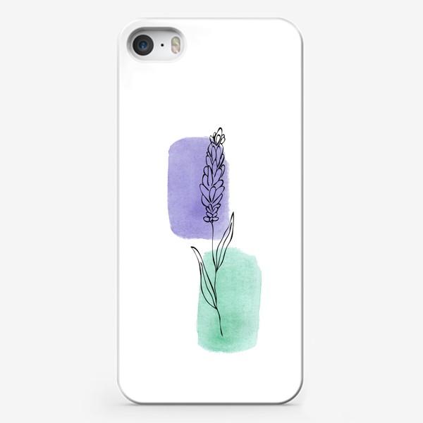 Чехол iPhone «Абстракция. Сиреневая и бирюзовая акварель, лаванда»