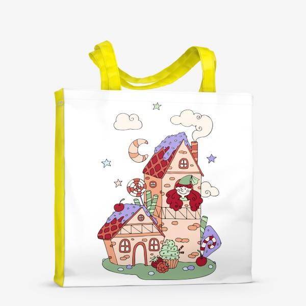 Сумка-шоппер «Забавная принцесса в башне, принт для девочек»