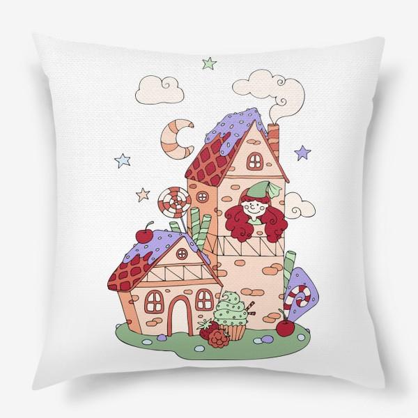 Подушка «Забавная принцесса в башне, принт для девочек»