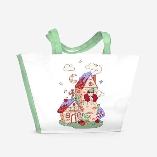 Пляжная сумка «Забавная принцесса в башне, принт для девочек»