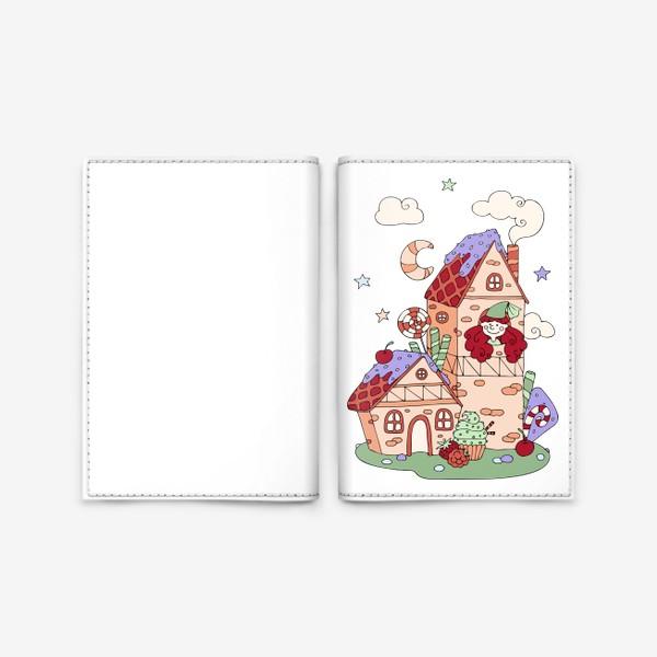 Обложка для паспорта «Забавная принцесса в башне, принт для девочек»