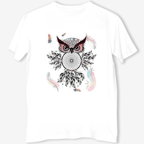 Футболка «Сова ловец снов с черно-белыми перьями»