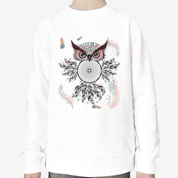Свитшот «Сова ловец снов с черно-белыми перьями»
