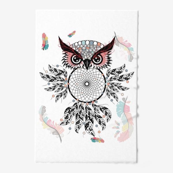 Полотенце «Сова ловец снов с черно-белыми перьями»