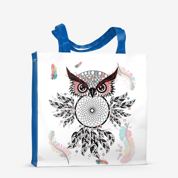 Сумка-шоппер «Сова ловец снов с черно-белыми перьями»