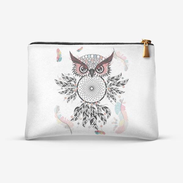 Косметичка «Сова ловец снов с черно-белыми перьями»
