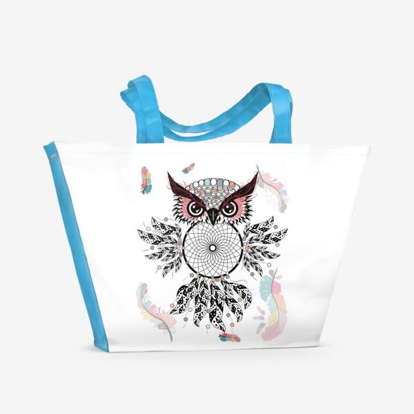 Пляжная сумка «Сова ловец снов с черно-белыми перьями»