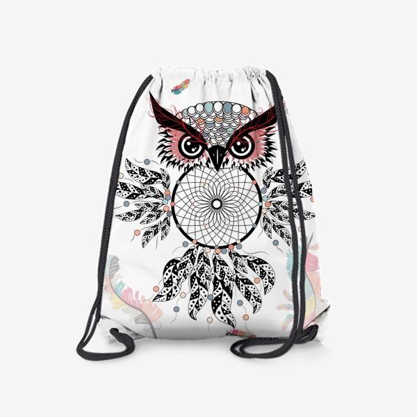 Рюкзак «Сова ловец снов с черно-белыми перьями»