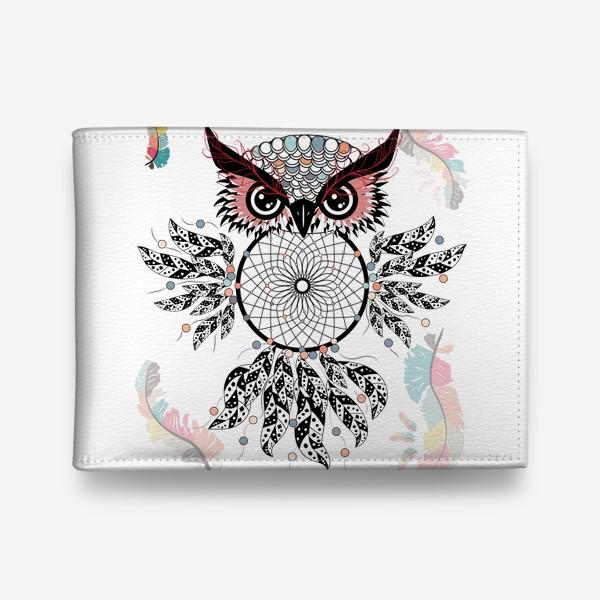 Кошелек «Сова ловец снов с черно-белыми перьями»