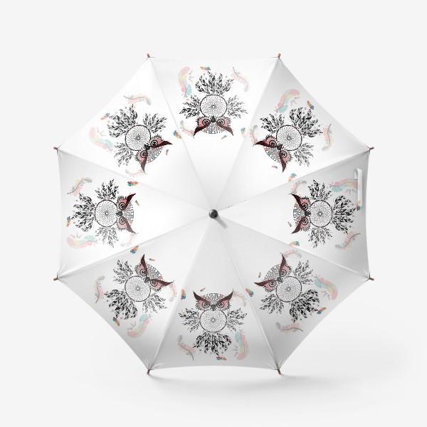 Зонт «Сова ловец снов с черно-белыми перьями»